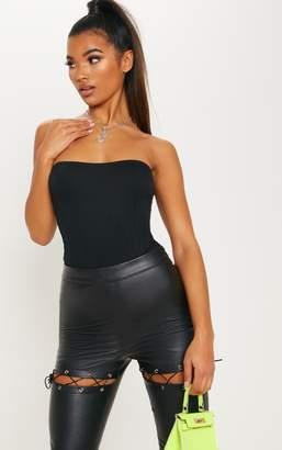 PrettyLittleThing Black Crepe Bandeau Bodysuit