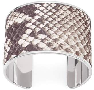 Aspinal of London Silver Cleopatra Cuff Bracelet In Embossed Natural Python Print