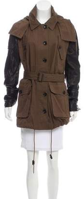 Burberry Leather-Trimmed Hooded Jacket