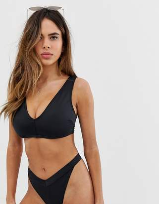 Asos Design DESIGN fuller bust recycled mix and match minimal plunge bikini top in black dd-g