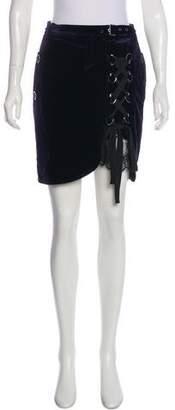 Self-Portrait Velvet Mini Skirt