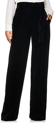 Derek Lam Women's High-Waist Velvet Wide-Leg Trousers - Black