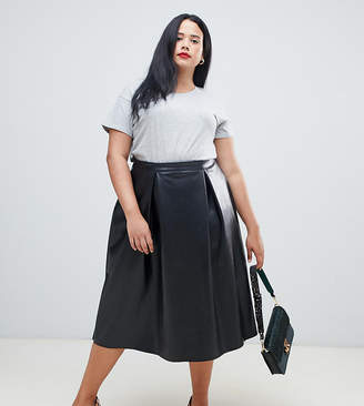 62f1b92caae Asos DESIGN Curve leather look full midi skirt with box pleats