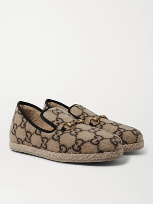 Gucci Horsebit Logo-Print Merino Wool Loafers - Men - Brown