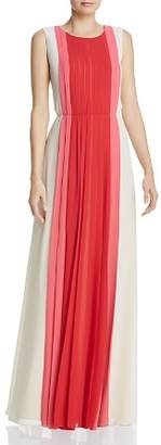 BCBGMAXAZRIA Pleated Color-Block Gown