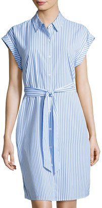 Neiman Marcus Striped Lace-Inset Shirtdress, Blue/White $65 thestylecure.com