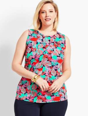 Talbots Plus Size Exclusive Floral Knit Jersey Shell