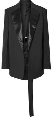 Helmut Lang Oversized Satin-trimmed Wool And Mohair-blend Blazer - Black