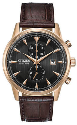 Citizen Chronograph Black Dial Brown Leather Strap Watch