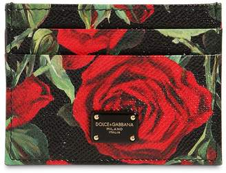 Dolce & Gabbana Roses Print Dauphine Leather Card Holder