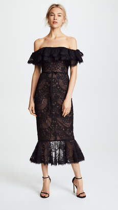 Marchesa Off the Shoulder Lace Ruffle Cocktail Dress