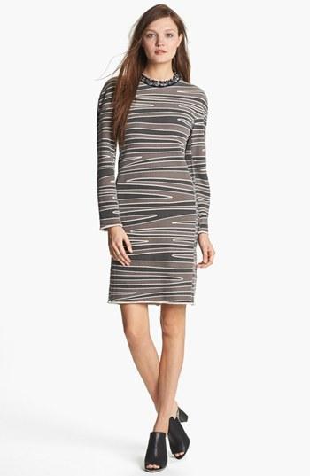3.1 Phillip Lim Beaded Neckline Print Knit Dress