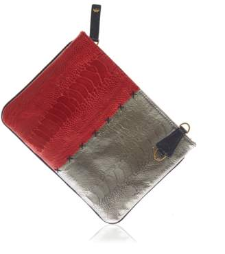 Okapi Clutch / Flame Red Gloss Gunmetal Ostrich Shin