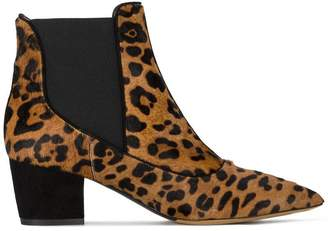 Tabitha Simmons Leopard Shadow Pony Leather ankle boots