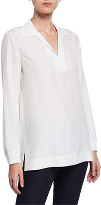 Lafayette 148 New York Boyd V-Neck Long Sleeve Matte Silk Blouse
