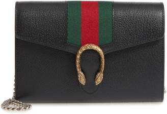 86d7bcc5916 Gucci Dionysus Web Stripe Leather Wallet on a Chain