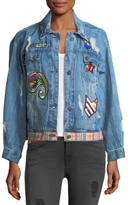 Etienne Marcel Julia Distressed Embroidered Denim Jacket w/ Patches