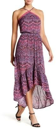 Love, Fire Printed Halter Neck Hi-Lo Dress