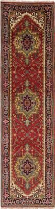 "Ecarpetgallery Hand-knotted Serapi Heritage Geometric 2'6"" x 9'9"" 100% Wool runner"
