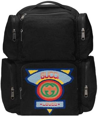 Gucci black Large backpack with '80s patch