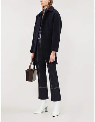 Claudie Pierlot Fringed-hem wool-blend coat