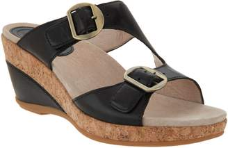 Dansko Leather Adjustable Wedge Sandals - Carla