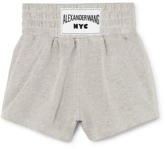 Alexander Wang Appliquéd Cotton-blend Terry Shorts - Light gray