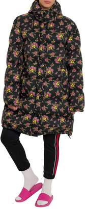 Gucci Oversized Down Jacket With Floral Print