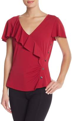 Laundry by Shelli Segal Short Sleeve V-Neck Ruffle Top