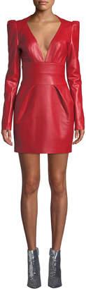 Alexandre Vauthier V-Neck Puff-Shoulder Long-Sleeve Napa Leather Mini Dress