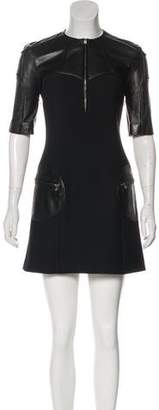 Versus Leather-Trimmed Mini Dress