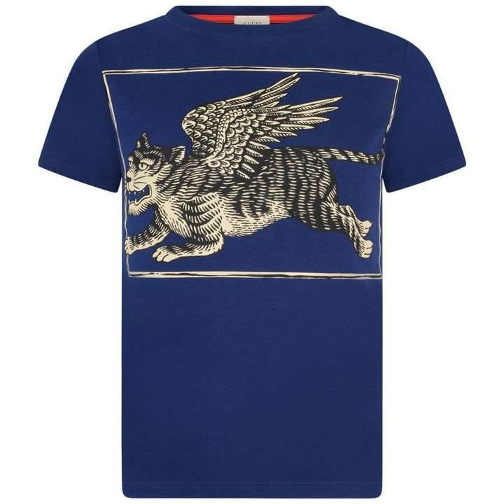 GUCCIBoys Blue Flying Tiger Print Top