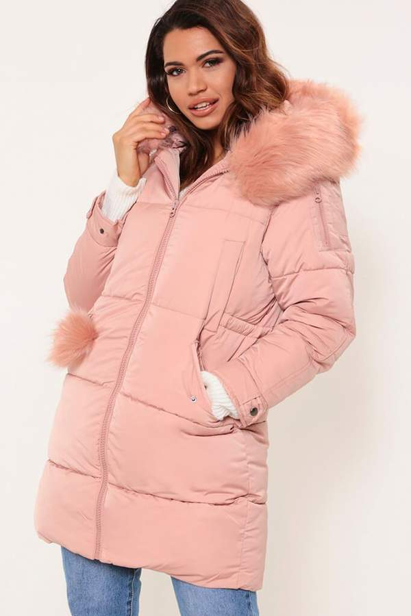 Isawitfirst Pink Longline Padded Jacket With Faux Fur Trim