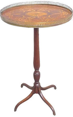 One Kings Lane Vintage Antique Oval Inlaid Pedestal Table - Vermilion Designs