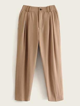 Shein Pocket Side And Back Button Ruched Pants