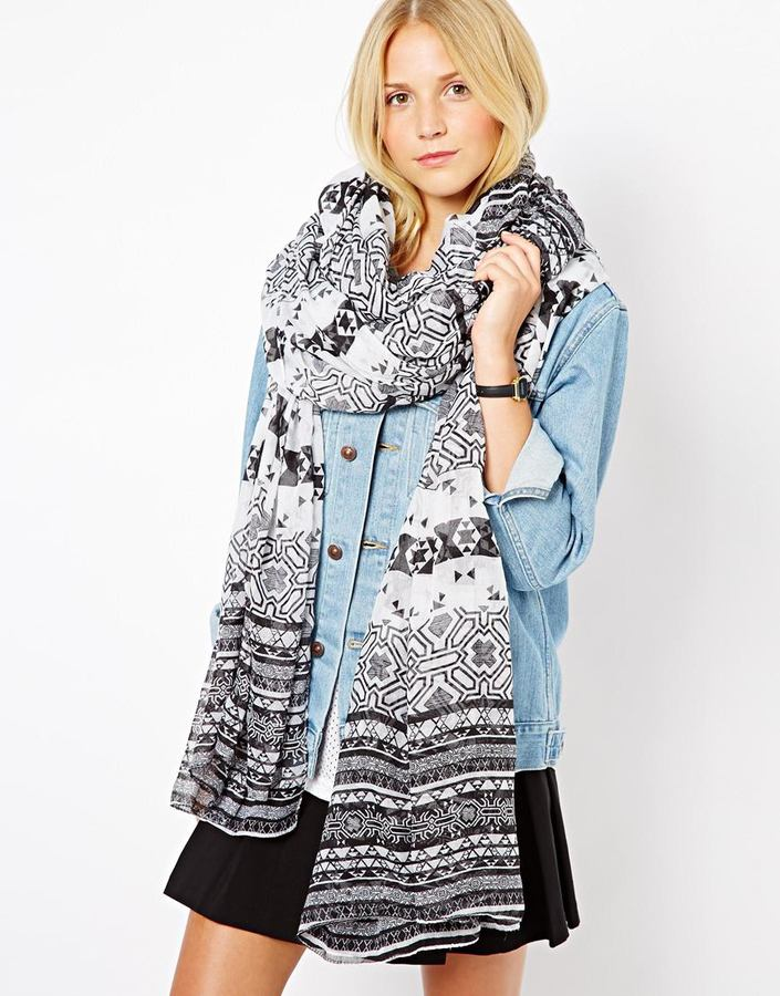 Asos Monochrome Geo-Tribal Print On Oversized Scarf