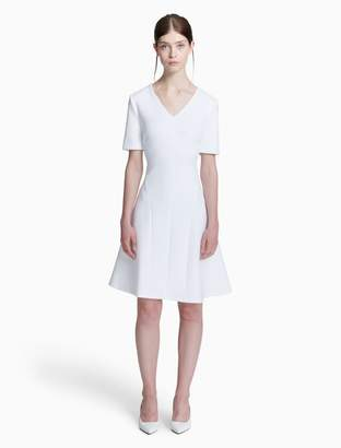 Calvin Klein v-neck short sleeve fit + flare dress
