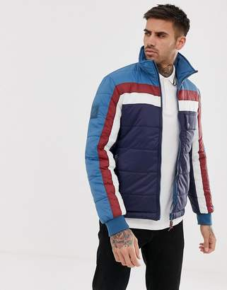 Pretty Green reversible quilted zip through jacket in blue