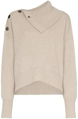 Le Kasha Etretate buttoned shoulder turtleneck jumper