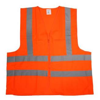 STKUSA 2 Pockets High Visibility Neon Orange Front Zipper Safety Vest with Reflective Strips ANSI ISEA, XXLarge