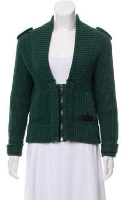 Burberry Chunky Knit Zip-Up Cardigan