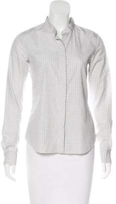 Theory Plaid Button-Up Top
