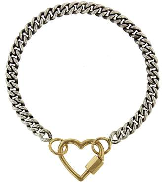 Marla Aaron Yellow Gold Baby Heart Lock with 6 Inch Heavy Curb Chain Bracelet