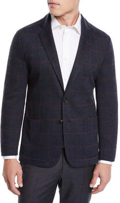 Emporio Armani Men's Windowpane Jacquard Soft Blazer Jacket