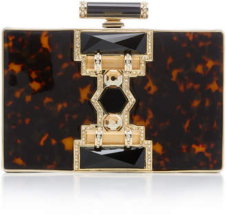 Judith Leiber Couture Ridget Rectangle Resin Crystal and Brass Clutch