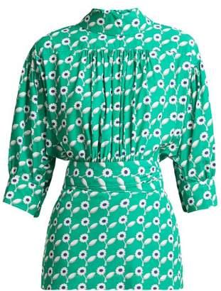 Marni Freedom Daisy Print Poplin Blouse - Womens - Green Print