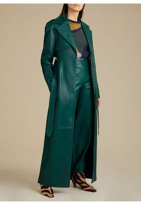 KHAITE The Blythe Trench In Hunter Green Leather