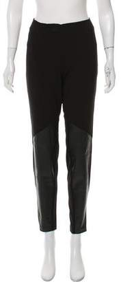 DKNY Leather-Trimmed Mid-Rise Pants