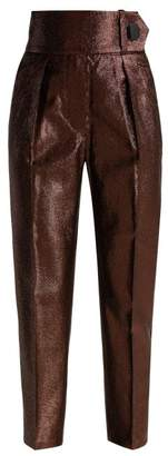 Petar Petrov Hikari Striped Lame Trousers - Womens - Bronze