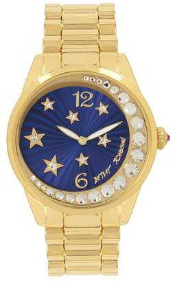 Betsey Johnson Women's Moon and Stars Crystal Watch, 42mm